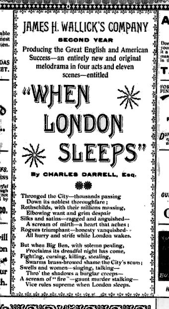 grand opera house london ont programme when london sleeps by charles darrell esq 1898